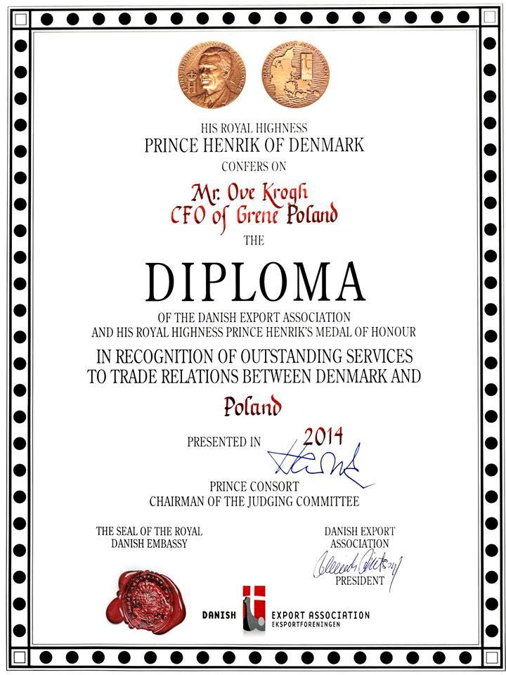 Jego Królewska Wysokość Książę Henryk odznaczył w Polsce honorowym medalem Grene oraz Grupę VELUX