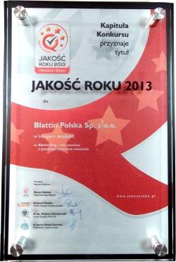 Blattin King otrzymał tytuł JAKOŚĆ ROKU 2013